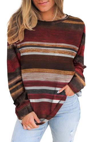 Striped Tie Dye Knit Long Sleeve Top LC2532678-19