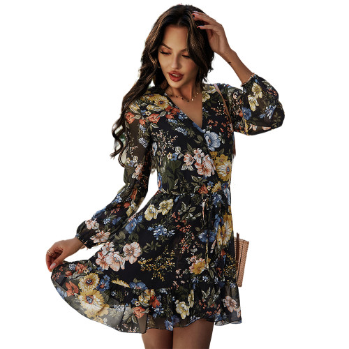Black Floral Print V Neck Chiffon Dress TQK310480-2