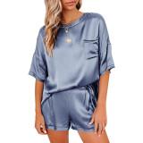 Pewter Silk-Like Irregular Loungewear Pajamas Set TQK710233-43
