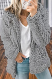 Gray Zipper Hooded Faux Fleece Solid Color Jacket LC851809-11