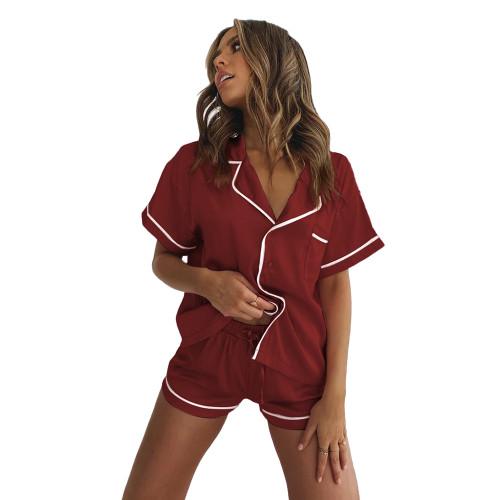 Wine Red Short Sleeve Loungewear Pajamas Short Set TQK710232-103