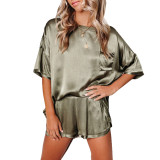 Army Green Silk-Like Irregular Loungewear Pajamas Set TQK710233-27