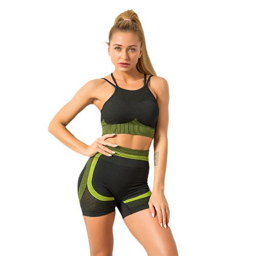 Army Green Splice Black Sports Bra With Shorts Set TQK710234-27