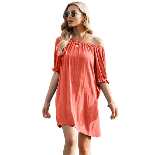 Orange Ruffle Hem Off Shoulder Mini Dress TQK310478-14