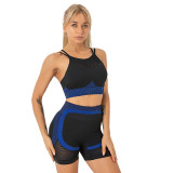 Blue Splice Black Sports Bra With Shorts Set TQK710234-5