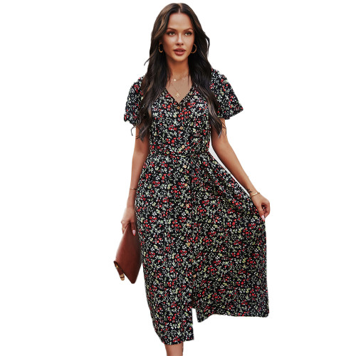 Black Short Sleeve Retro Floral Dress TQK310476-2