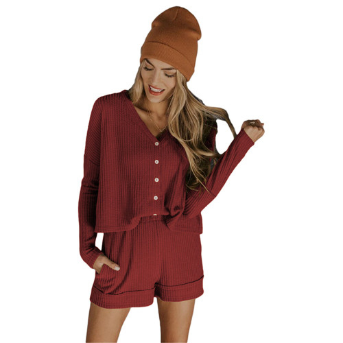 Wine Red Waffle Loungewear Long Sleeve Button Shirt and Short Set TQK710231-103