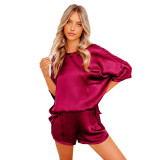 Red Silk-Like Irregular Loungewear Pajamas Set TQK710233-3