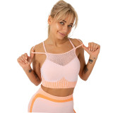 Orange Splice Pink Sports Bra With Shorts Set TQK710234-10