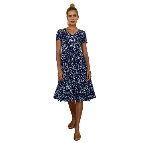 Navy Blue Floral Print V Neck Boho Dress TQK310475-34
