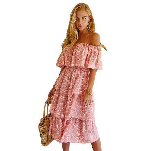 Pink Polka Dot Off Shoulder  Holiday Dress TQK310474-10