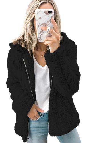 Black Zipper Hooded Faux Fleece Solid Color Jacket LC851809-2