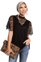 Black Breaking News Lace Top LC2514318-2