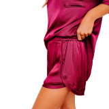 Red Silk-Like Irregular Loungewear Pajamas Set TQK710233-3