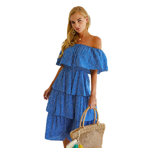Blue Polka Dot Off Shoulder  Holiday Dress TQK310474-5