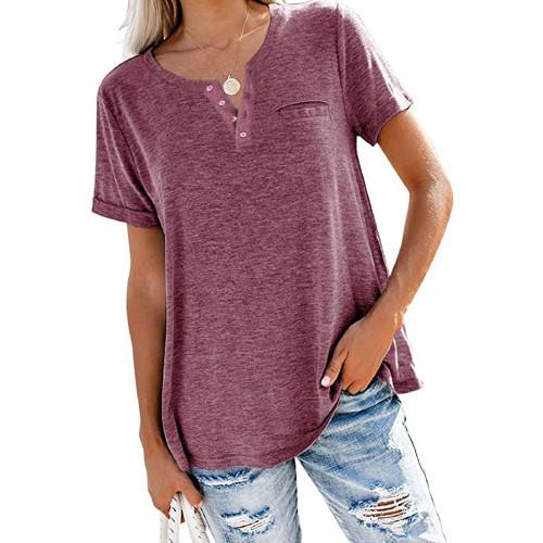 Wine Red V Neck Fake Pocket Short Sleeve Tees TQK210609-103