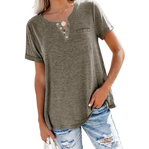 Sallowish V Neck Fake Pocket Short Sleeve Tees TQK210609-67