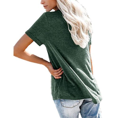 Green V Neck Fake Pocket Short Sleeve Tees TQK210609-9