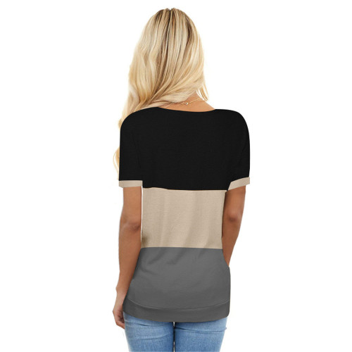 Gray Colorblock Short Sleeve Choker T-shirt TQK210611-11