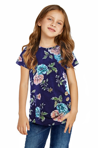 Blue Blooming Floral Little Girls' T-shirt TZ25150-5