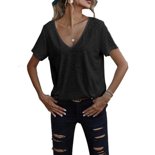 Black Splicing Lace Short Sleeve T Shirt TQK210610-2