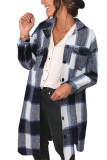 Black Shirt Collar Button Closure Plaid Coat LC851789-2
