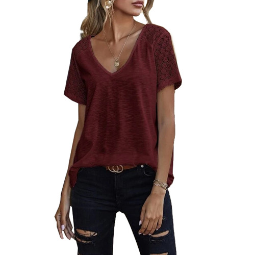 Wine Red Splicing Lace Short Sleeve T Shirt TQK210610-103