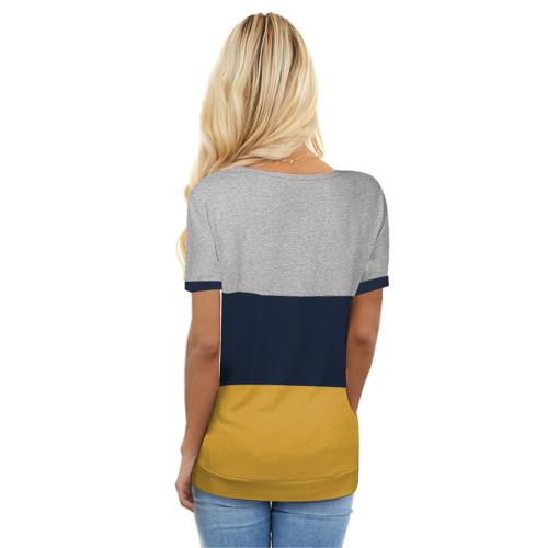 Yellow Colorblock Short Sleeve Choker T-shirt TQK210611-7
