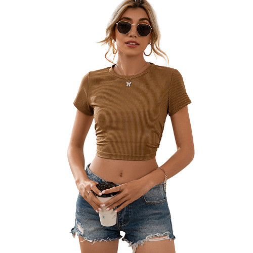 Brown Open Back Lace Up Short Sleeve Crop Top TQK210605-17