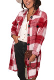 Red Shirt Collar Button Closure Plaid Coat LC851789-3