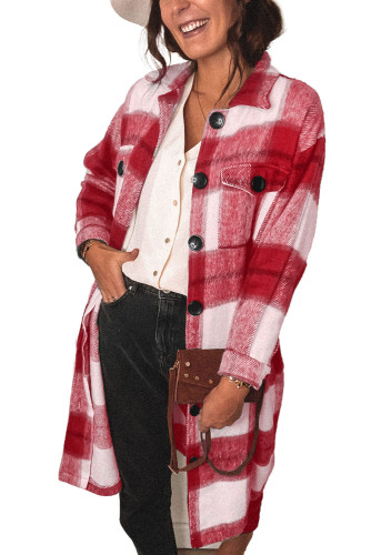 Red Shirt Collar Button Closure Plaid Coat LC851789-3