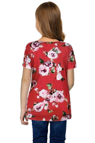 Red Blooming Floral Little Girls' T-shirt TZ25150-3