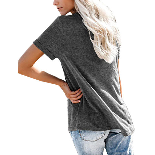Black V Neck Fake Pocket Short Sleeve Tees TQK210609-2