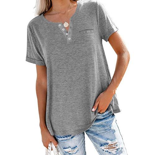 Gray V Neck Fake Pocket Short Sleeve Tees TQK210609-11