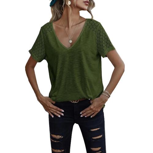 Green Splicing Lace Short Sleeve T Shirt TQK210610-9