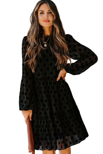 Black Crew Neck Long Sleeve Polka Dot Ruffle Lace Midi Dress LC223090-2