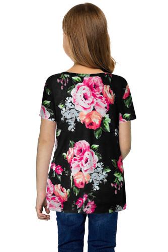 Black Blooming Floral Little Girls' T-shirt TZ25150-2