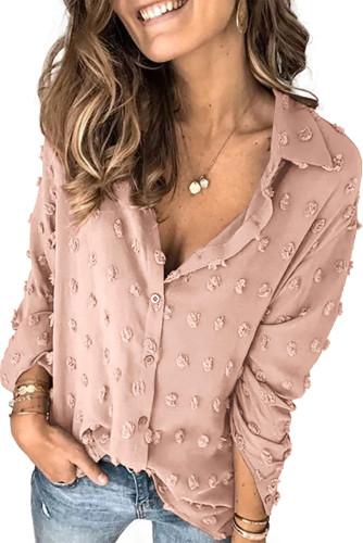 Khaki Long Sleeve Button Fuzzy Polka Dot Shirt LC255262-16