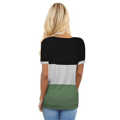 Green Colorblock Short Sleeve Choker T-shirt TQK210611-9