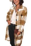 Khaki Shirt Collar Button Closure Plaid Coat LC851789-16