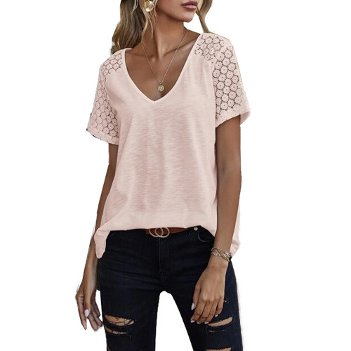 Pink Splicing Lace Short Sleeve T Shirt TQK210610-10