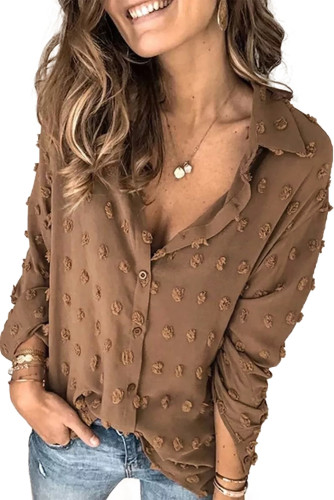 Brown Long Sleeve Button Fuzzy Polka Dot Shirt LC255262-17