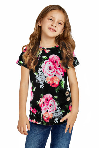 Black Blooming Floral Little Girls' T-shirt TZ25150-2