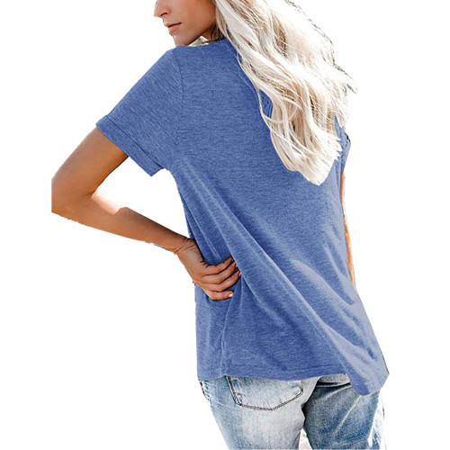 Blue V Neck Fake Pocket Short Sleeve Tees TQK210609-5