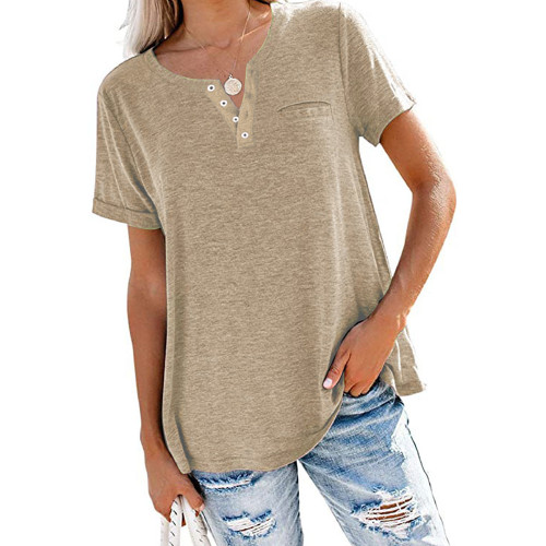Khaki V Neck Fake Pocket Short Sleeve Tees TQK210609-21