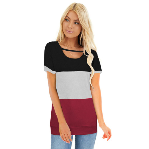 Red Colorblock Short Sleeve Choker T-shirt TQK210611-3
