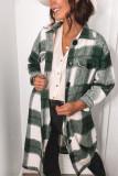 Green Shirt Collar Button Closure Plaid Coat LC851789-9