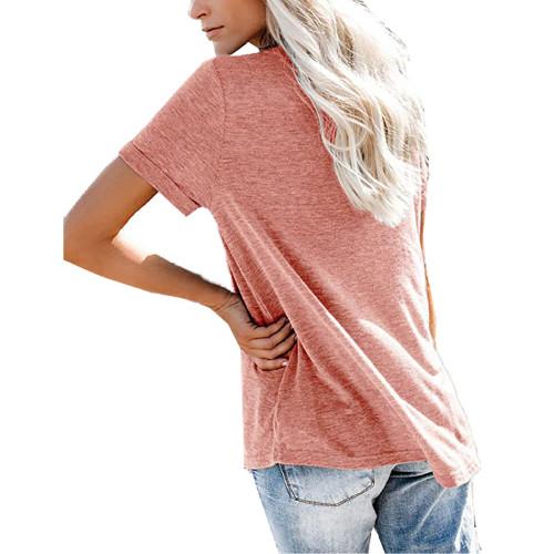 Pink V Neck Fake Pocket Short Sleeve Tees TQK210609-10