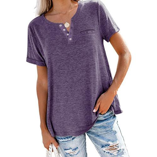 Purple V Neck Fake Pocket Short Sleeve Tees TQK210609-8