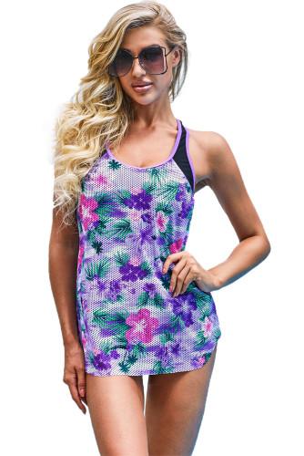 Purple Floral Print Racerback Tankini Top LC46056-8